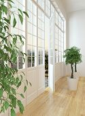 picture of windows doors  - View down the length of a panoramic view window across the parquet floor of a living room to the door door onto the exterior patio of the apartment with two potted trees - JPG