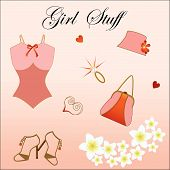 foto of underthings  - Girl Stuff Sweet corset with diamond ring purse hat shoes flowers and hearts - JPG