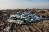 foto of landfill  - Piles of garbage on the city landfill - JPG