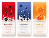 foto of milk  - Three fruit and milk labels - JPG