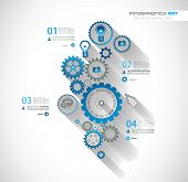 stock photo of generic  - Infographic timeline with Gear mechanic concept for product or generic items classification - JPG
