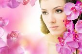 pic of beautiful face  - beauty flower girl on the blurry background - JPG