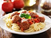 stock photo of meatball  - spaghetti and meatballs with basil garnish - JPG