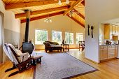 picture of vault  - Living room with high vaulted celing with beams - JPG