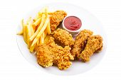 picture of southern fried chicken  - plate of fried chicken isolated on white background - JPG