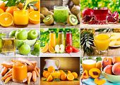 image of fruit-juice  - collage of various juice with fresh fruits - JPG