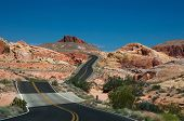 picture of valley fire  - Valley of Fire Road main road going through the varicolored rocks of Valley of Fire State Park located near Las Vegas USA - JPG