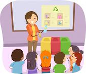 stock photo of segregation  - Illustration of a Teacher Teaching Her Students How to Recycle - JPG