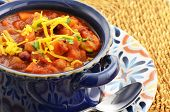 stock photo of kidney beans  - Nutritious vegetarian chili full of tomato beans peppers sweet potato and corn - JPG