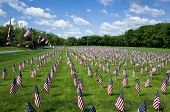 stock photo of veterans  - American Flags saluting are veterans at the Fort Indiantown Gap National Cemetery on Memorial Day - JPG