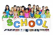 stock photo of children group  - Group of Children with Back to School Concept - JPG