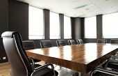 stock photo of solid  - Modern meeting room with solid wood table - JPG