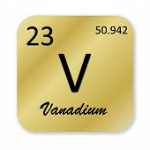 image of vanadium  - Black vanadium element into golden square shape isolated in white background - JPG