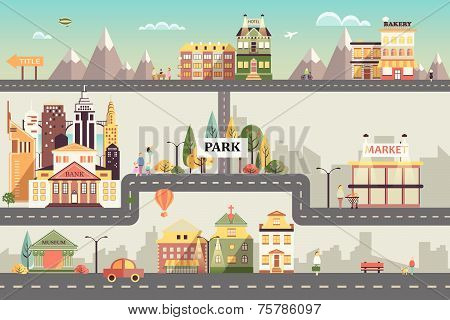 Set of buildings in the small business flat design