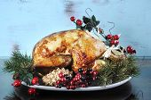 Scrumptious Roast Turkey Chicken On Platter With Festive Decorations For Thanksgiving Or Christmas L poster