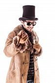 stock photo of hustler  - a young man wearing a sheepskin coat isolated over a white background holding a cigar and a glass with champagne - JPG