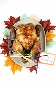 Scrumptious Roast Turkey Chicken On Platter With Festive Decorations For Thanksgiving Lunch With Aut poster