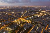 picture of nightfall  - Nightfall in the city of Paris Ile-de-France France
