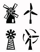 stock photo of windmills  - vector black windmill icons set on white - JPG