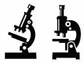 stock photo of microscopes  - vector black illustration of microscope icon on white - JPG