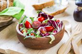 stock photo of rocket salad  - Grape with Radadicchio Rocket salad by some sesame bread - JPG