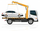 stock photo of towing  - tow truck for transportation faults and emergency cars vector illustration isolated on white background - JPG