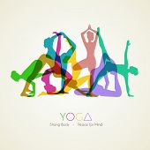 image of flat-foot  - Vector illustration of Yoga poses woman - JPG