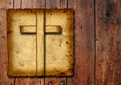 stock photo of jesus  - Concept or conceptual Christian cross cut in an old grungy or vintage paper - JPG