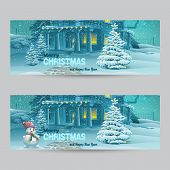 picture of snowmen  - Set of horizontal banners with Christmas and New Year with the image of a snowy night with a snowman and Christmas trees - JPG