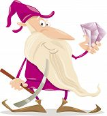 stock photo of dwarf  - Cartoon Illustration of Fantasy Dwarf with Diamond and Pick Ax - JPG