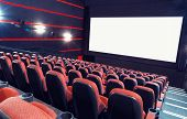 picture of cinema auditorium  - Empty cinema auditorium with screen and seats - JPG