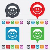 stock photo of chat  - Smile face sign icon - JPG