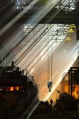 picture of blast-furnace  - Shop foundry in rays of light - JPG