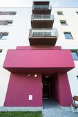 picture of front-entry  - Rose entry to newly renovated apartment building - JPG