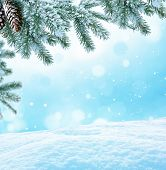 stock photo of snowy hill  - Winter Christmas background with fir tree branch  - JPG
