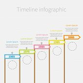 stock photo of dash  - Arrow Flag on sticks Timeline Infographic with dash line circles and text - JPG