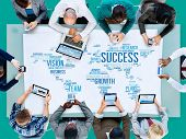 stock photo of growth  - Success Growth Vision Ideas Team Business Plans Connect Concept - JPG