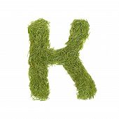 pic of letter k  - Green alphabet letter K isolated on white - JPG