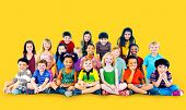stock photo of group  - Kids Children Diversity Happiness Group Cheerful Concept - JPG