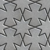 picture of slab  - Gray Paving Slabs Laid in the Form of Stars and Crosses - JPG
