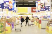 stock photo of supermarket  - Interior of empty supermarket - JPG