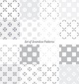 image of symmetrical  - Set of seamless symmetrical geometric patterns vector illustration - JPG
