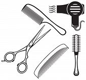Постер, плакат: Scissors and Comb for hair