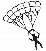 foto of parachute  - Man jumping with parachute isolated on white background - JPG