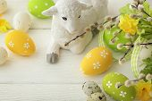 picture of spring lambs  - colorful easter eggs and spring flowers - JPG