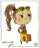 picture of chibi  - Fashionable girl isolated on white background - JPG
