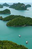 stock photo of thong  - Many green islands are scatter the sea. This is Archipelago of Ang Thong - National Marine Park near Koh Samui Thailand.