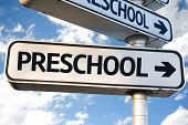 picture of playgroup  - Preschool direction sign on sky background - JPG