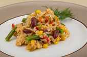 picture of mexican  - Mexican rice mix with beans corn and chicken - JPG