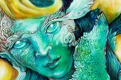 picture of face painting  - Beautiful fantasy colorful painting of a radiant elven fairy creatures and energy lights an insight in a fairy realm face portrait closeup - JPG
